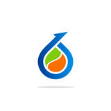 Bio logotipo da gota da seta Imagens de Stock Royalty Free