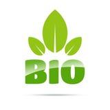Bio logotipo verde com folhas Foto de Stock