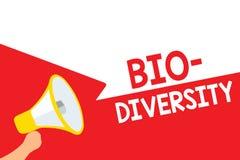 Bio mångfald för ordhandstiltext Affärsidé för variation av livorganismMarine Fauna Ecosystem Habitat Megaphone loudspeak stock illustrationer