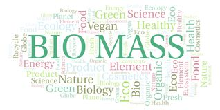 Bio Mass word cloud. Wordcloud made with text only vector illustration