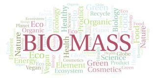 Bio Mass word cloud. Wordcloud made with text only stock illustration