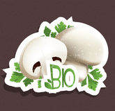 Bio mushroom tag Stock Photo