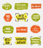 Bio and natural cosmetic product labels set Royalty Free Stock Photography