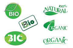 Bio Natural Organic Labels Royalty Free Stock Photography