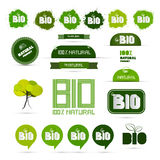 Bio - Natural Product Green Labels Set. Bio - Natural Product Green Labels - Tags - Stickers Set Royalty Free Stock Images