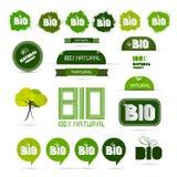 Bio - Natural Product Green Labels Set. Bio - Natural Product Green Labels - Tags - Stickers Set stock illustration