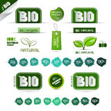 Bio - Natural Product Green Labels. Tags - Stickers Set vector illustration