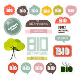 Bio - Natural Product Green Labels. Tags - Stickers Set Royalty Free Stock Photo