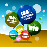 BIO - 100% Natural Vector Bubbles. On Abstract Landscape vector illustration