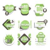 Bio naturlig strikt vegetarianprodukt Logo Collection Arkivbilder