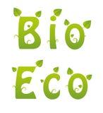 Bio och Eco ord Royaltyfri Bild