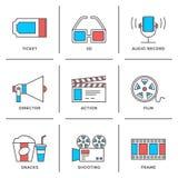 Bio och filmlinje symbolsuppsättning stock illustrationer