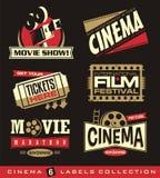 Bio och filmuppsättning av etiketter, emblem, baner och designbeståndsdelar Royaltyfri Foto