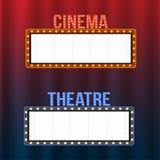 Bio- och teaterskyltar på blåa och röda gardiner med strålkastare och tappningramar vektor illustrationer