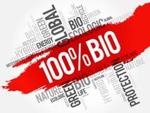 100% BIO ordmoln royaltyfri illustrationer