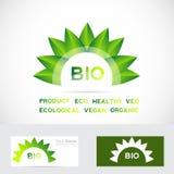 Bio organic flower leafs logo set Stock Image