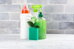 Bio organic natural cleaning supplies. Save the planet concept Stock Photos
