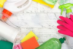 Bio organic natural cleaning supplies. Save the planet concept Stock Images