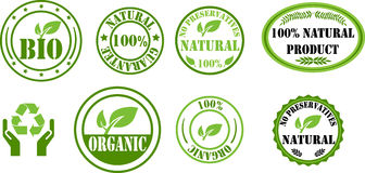 Bio and organic stamps. Bio, organic, natural stamps in green Royalty Free Illustration