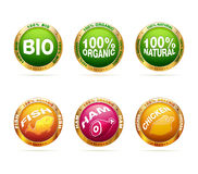 bio organisk set för emblem Arkivbilder