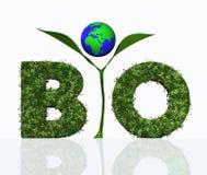 Bio palabra con una planta y el mundo Imagen de archivo