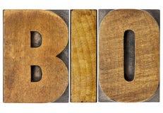 Bio palabra en el tipo de madera Foto de archivo libre de regalías