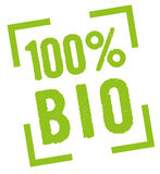 100% Bio. 100 percent bio stamp in green Royalty Free Stock Photos