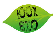 100% Bio. 100 percent bio tag in a green leaf Royalty Free Stock Images