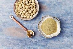 Bio- polvere e compresse verdi dell'ERBA di ORZO Concetto per un completamento dietetico sano immagine stock
