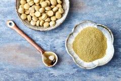 Bio- polvere e compresse verdi dell'ERBA di ORZO Concetto per un completamento dietetico sano fotografie stock libere da diritti