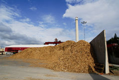 Bio power plant storage of wooden fuel (biomass) against bl Stock Images