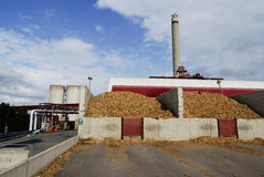 Bio power plant storage of wooden fuel (biomass) against bl Stock Photo