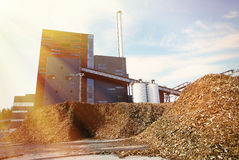 bio power plant with storage of wooden fuel biomass Stock Images