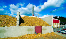 Bio power plant with storage of wooden fuel biomass Royalty Free Stock Images
