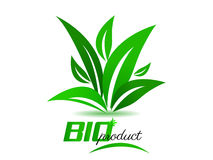 Bio product, background with green leafs. Bio product, white background with green leafs Royalty Free Stock Images