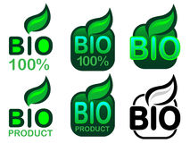 Bio Product and Bio 100% Icon / Seal Stock Photos
