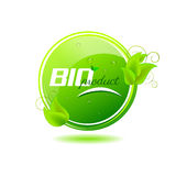 Bio product button with green leaves and water drops Royalty Free Stock Photos