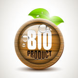 BIO product - glossy wooden icon Royalty Free Stock Photography