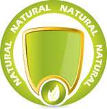 Bio product guarantee badge. Icon with shield and leaves Royalty Free Stock Photography