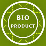 Bio product label. On a green background Stock Photos
