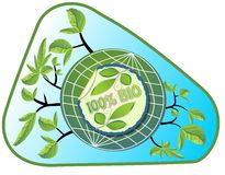 Bio product label in green and blue design with leafs, globe and branches Stock Photo