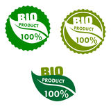 Bio product labels with green leaves Royalty Free Stock Photos