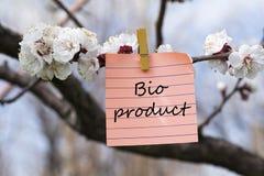 Bio producto en nota fotos de archivo