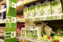 Bio products. Displayed on shelfs in the supermarket Stock Images