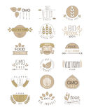 Bio Products Set Of Labels. Cool Flat Vector Hand Drawn Light Shade Design Templates On White Backgeound vector illustration