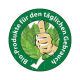 Bio products for daily use German language. Bio-Produkte fur den taglichen Gebrauch - stamp / sticker. Business label / logo for agricultural / cosmetics Stock Photos
