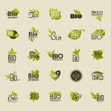 Bio produkt. Uppsättning av vektoretiketter och emblem Arkivfoto