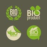 Bio produkt - vektoretiketter och emblem Arkivfoton