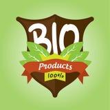 100% bio produktemblem royaltyfri illustrationer