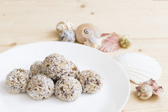 Bio raw vegan coconut truffle Royalty Free Stock Images